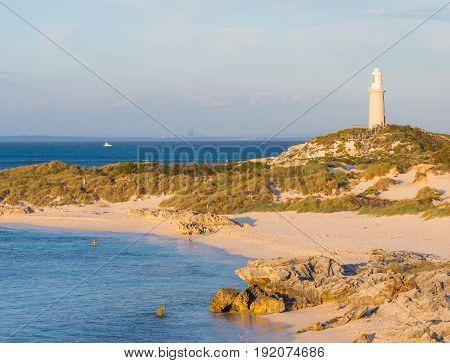 Pinky Beach and Bathurst Lighthouse on Rottnest Island near Perth in Western Australia.