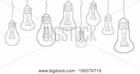 Linear illustration of hanging light bulbs. Border. Vector element for your creativity