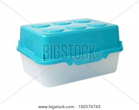 closeup white translucent plastic box with blue lid lock isolated on white background