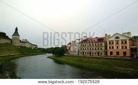 A view of the famous Golden Embankment and the Kremlin in Pskov
