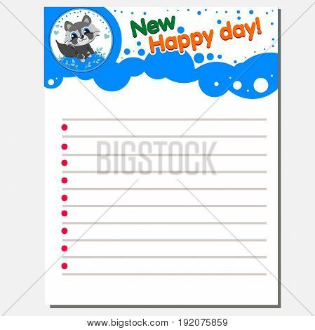 Office paper sheet With a cute illustration of an animal. Vector For registration of a children s notebook or stickers