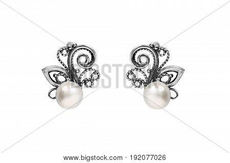 Elegant silver pearl earrings on white background
