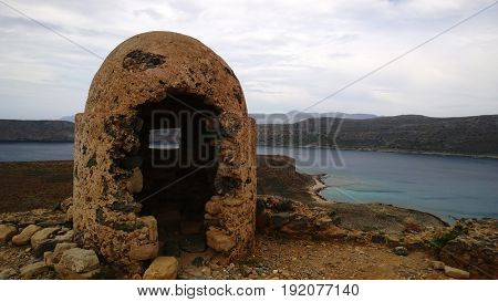 Abandoned ruined fortifications on the island of Gramvousa