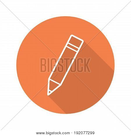 Pencil with eraser. Flat linear long shadow icon. Vector line symbol