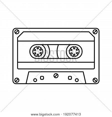 Retro cassette icon black line simple isolated vector