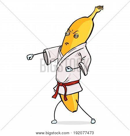 Vector Cartoon Character - Karate Banana