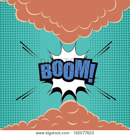 Comic page explosive template with blue Boom word, white speech bubble, smoke clouds, sound and halftone effects on turquoise background. Vector illustration