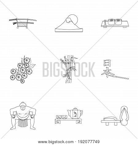 Japan set icons in outline style. Big collection of Japan vector symbol stock