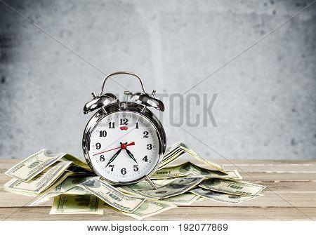 Money one retro clock alarm table background