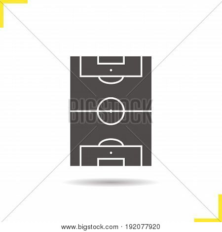 Soccer field glyph icon. Drop shadow silhouette symbol. Negative space. Vector isolated illustration