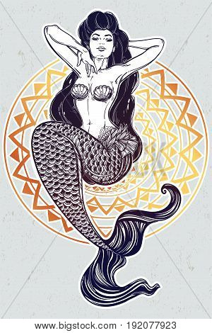 Hand drawn artwork of beautiful mermaid girl with fairytale hair. Graceful ocean siren in retro style. Sea, fantasy, spirituality, mythology, tattoo art, coloring books. Isolated vector illustration.