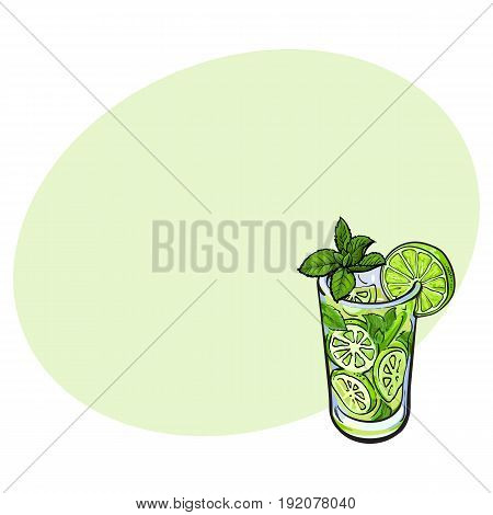 Tall glass full of freshly squeezed cold lime juice with ice and straw, sketch style vector illustration with space for text. Alcoholic cocktail with lime