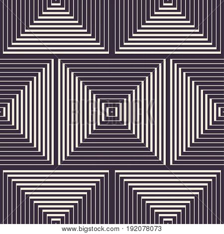 Abstract vector seamless op art pattern. Monochrome moire ornament