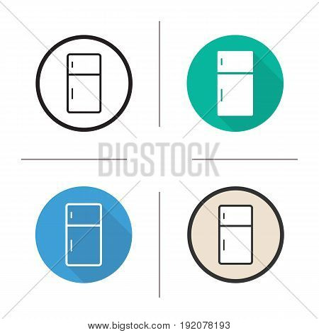 Fridge icon. Flat design, linear and color styles. Refrigerator. Isolated vector illustrations