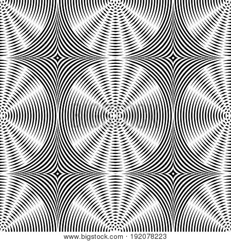 Abstract vector seamless op art pattern. Monochrome moire ornament.