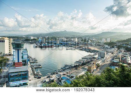 Gangwon-do South Korea - June 20 2017: Korea's Sea of the East Sea Landscape Mukho harbor travel