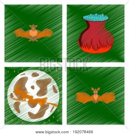 assembly flat shading style icon of potion cauldron bat Full Moon witch