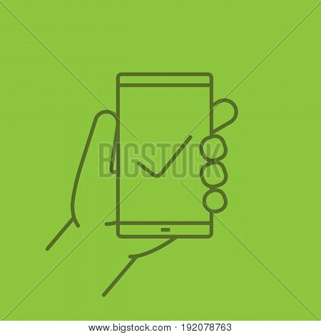 Hand holding smartphone color linear icon. Smart phone with tick mark. Thin line contour symbols on color background. Vector illustration