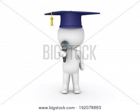 3D Character Giving Speech At Graduation