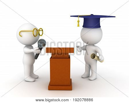3D Illustration Of Student About To Give A Graduation Speech