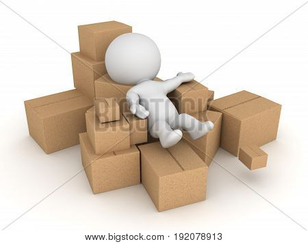 3D Character Thrown Into Pile Of Cardboard Boxes