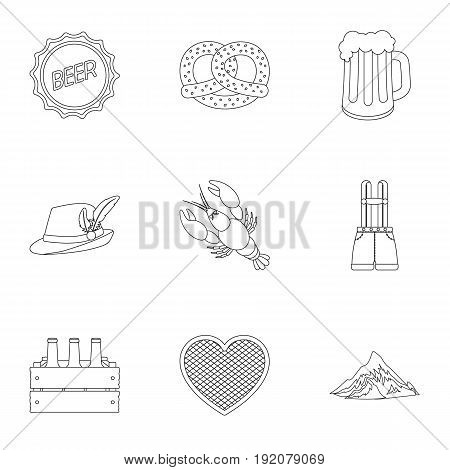 Oktoberfest set icons in outline style. Big collection of Oktoberfest vector symbol stock