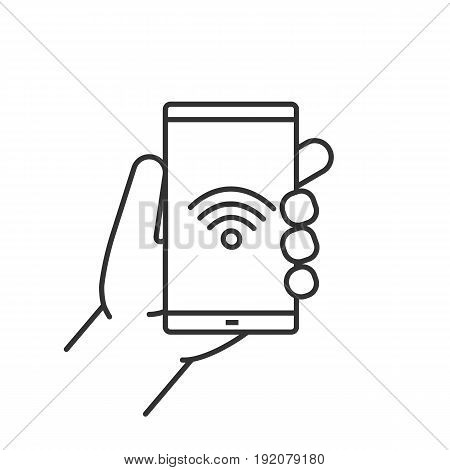 Hand holding smartphone linear icon. Thin line illustration. Smart phone wifi connection contour symbol. Vector isolated outline drawing
