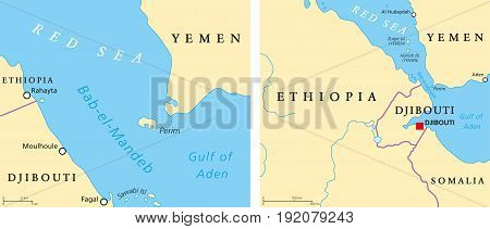 Bab el Mandeb political map. Strait between Yemen on Arabian Peninsula and Djibouti and Eritrea on Horn of Africa. Connects the Red Sea and the Gulf of Aden. Illustration. English labeling. Vector.
