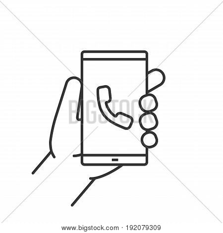 Hand holding smartphone linear icon. Thin line illustration. Smart phone incoming call contour symbol. Vector isolated outline drawing