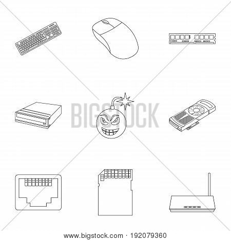Personal computer set icons in outline style. Big collection of personal computer vector symbol stock