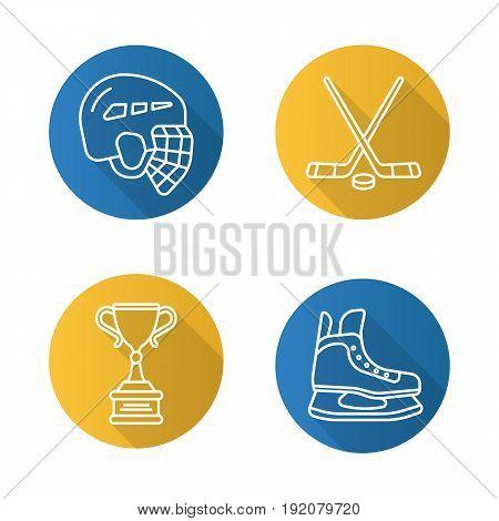 Hockey flat linear long shadow icons set. Helmet, ice skate, sticks, winner's award. Vector line illustration