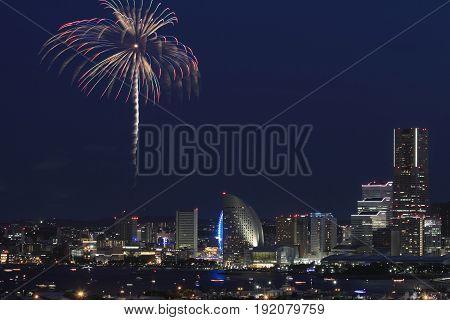 Fireworks In Yokohama Port Festival At Kanagawa, Japan