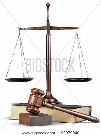 Justice book scales background paper isolated closeup