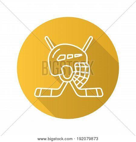 Hockey game equipment. Flat linear long shadow icon. Hockey sticks and helmet. Vector line symbol