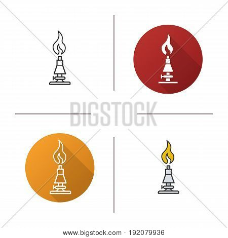 Chemical lab burner icon. Flat design, linear and color styles. Isolated vector illustrations