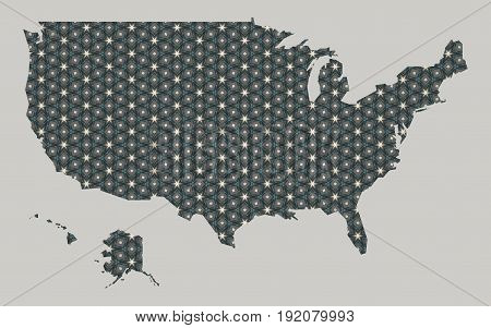 United States Map With Stars And Ornaments