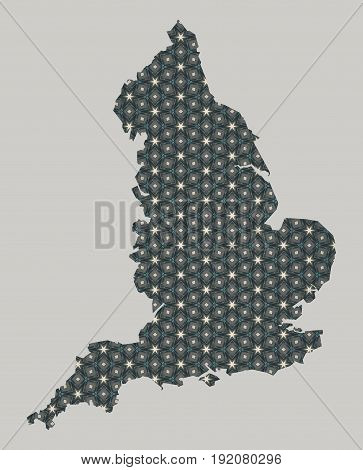 England map with stars and ornaments illustration