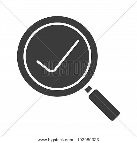 Search glyph icon. Silhouette symbol. Magnifying glass with tick mark. Negative space. Vector isolated illustration