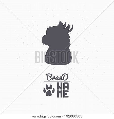 Hand drawn silhouette of parrot or bird. Pet food logo template for craft packaging or brand identity. Vector illustration