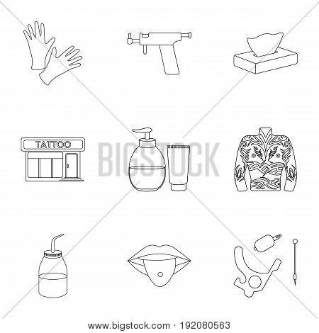 Tattoo studio set icons in outline style. Big collection of tattoo studio vector symbol stock