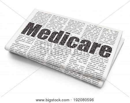 Health concept: Pixelated black text Medicare on Newspaper background, 3D rendering