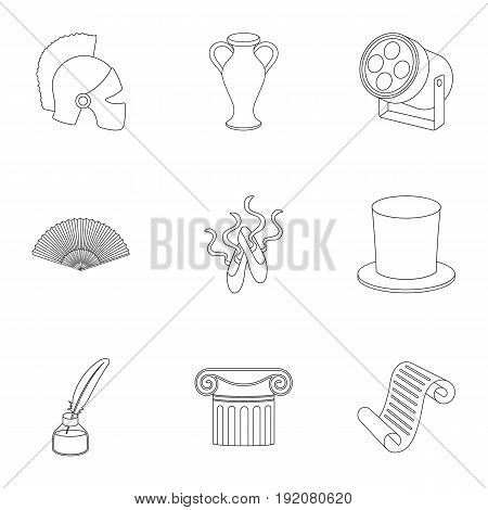 Theater set icons in outline style. Big collection of theater vector symbol stock