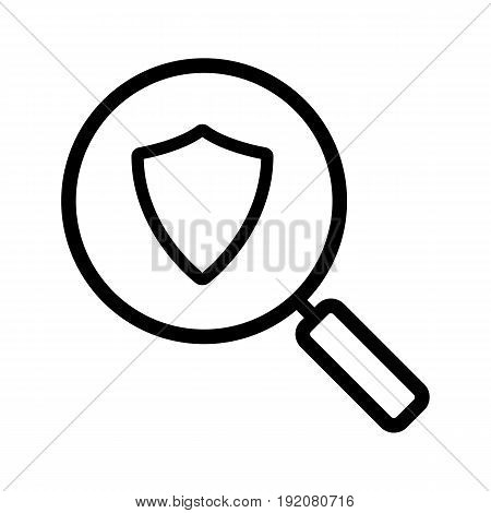 Antivirus program search linear icon. Thin line illustration. Magnifying glass with protection shield contour symbol. Vector isolated outline drawing