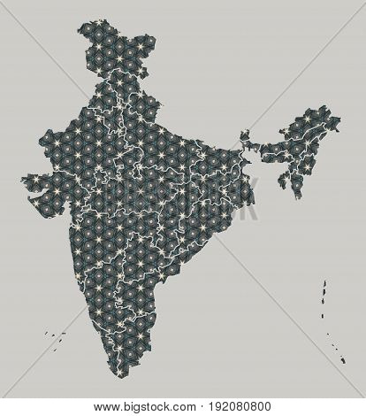 India Map With Stars And Ornaments Including Borders