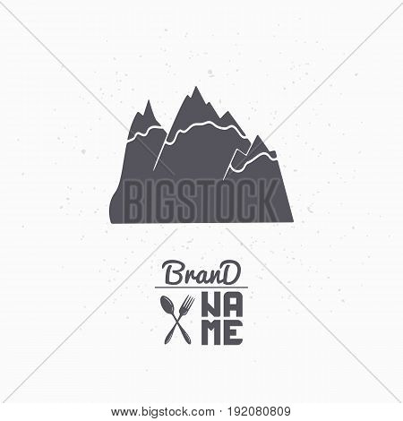 Hand drawn silhouette of mountains. Pure water logo template for craft packaging or brand identity. Vector illustration