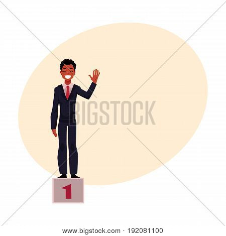 Black, African American businessman standing on pedestal, number one, business success concept, cartoon vector illustration with space for text. Black businessman on pedestal, top position