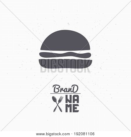 Hand drawn silhouette of burger. Fast food logo template for craft packaging or brand identity. Vector illustration