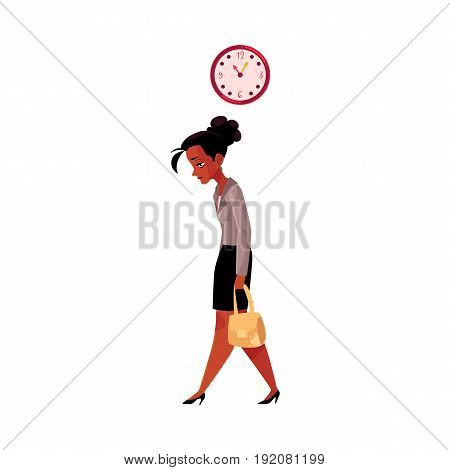 Tired black, African American businesswoman, going home after work, clock showing time, cartoon vector illustration isolated on white background. Black businesswoman sad, tired, going home from work