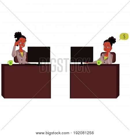Black, African American businesswoman, secretary talking by phone, thinking, bored, office life, cartoon vector illustration isolated on white background. Black businesswoman, secretary in office