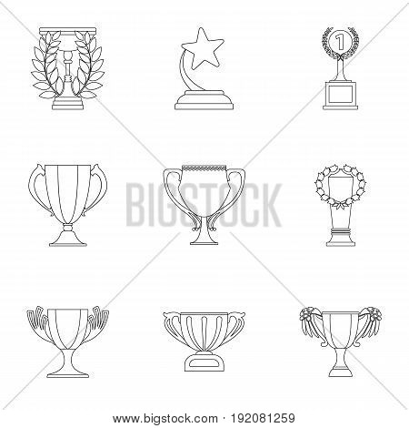 Winner cup set icons in outline style. Big collection of winner cup vector symbol stock